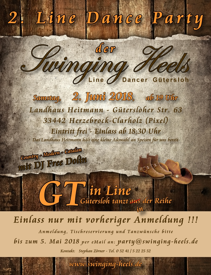 Einladung zur 2. Line Dance Party der Swinging Heels Line Dancer Gütersloh