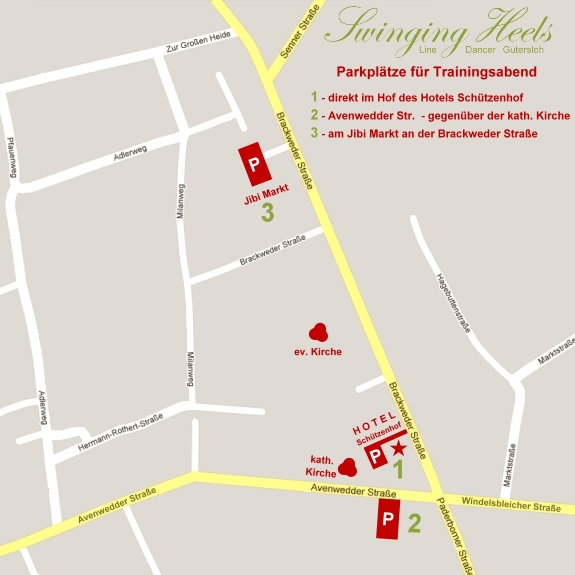 Parkplatz-Plan der Swinging Heels Line Dancer Gütersloh